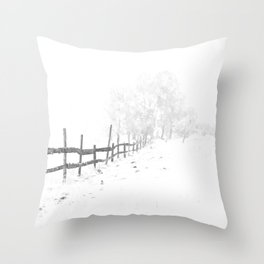 Fence and Snow Throw Pillow