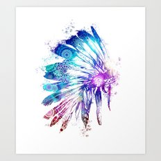 mandala colorful headdress Art Print