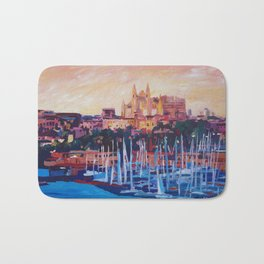 Spain Balearic Island Palma de Majorca with Harbour and Cathedral Bath Mat