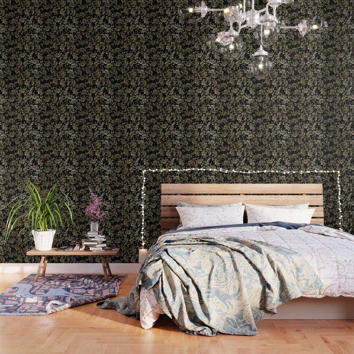 Elegant Black Faux Gold Polka Dots Vintage Floral Wallpaper