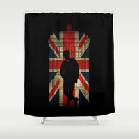 uk Shower Curtains featuring 11th Doctor UK flag by BomDesignz