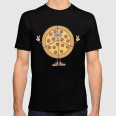 Pizza & Love Black Mens Fitted Tee MEDIUM