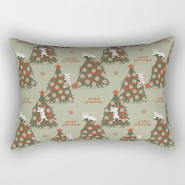 Meowy Christmas, Cats on Xmas Decorated Trees, Vintage Colors, Hand-painted Festive Winter Holiday Fun Cat Pattern Rectangular Pillow