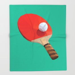 Ping Pong Paddle polygon art Throw Blanket
