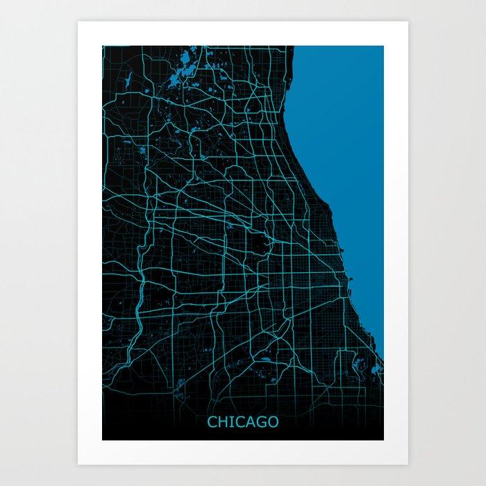 Chicago Map Night Mode Art Print