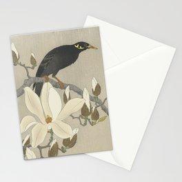 Myna on Magnolia Branch, Ohara Koson, 1900 Stationery Cards