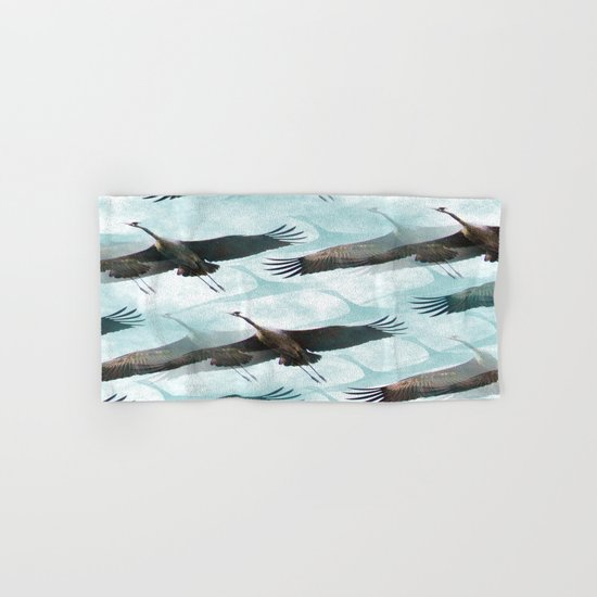 Abstract Whooping Cranes  Hand & Bath Towel