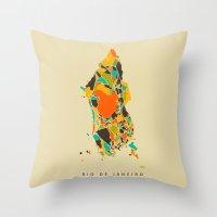 rio Throw Pillows featuring Rio  by Nicksman