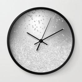 Modern silver glitter ombre metallic sparkles confetti Wall Clock