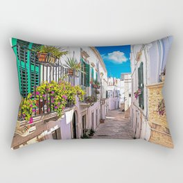 Little alley in the medieval center of the white village of Locorotondo Rectangular Pillow