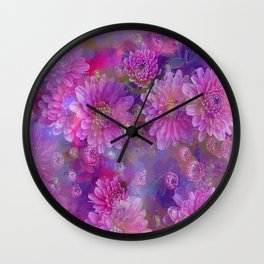 Fantastic colored Flowers Wall Clock