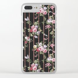 Elegant faux rose gold black stripes vintage blush pink lavender floral Clear iPhone Case