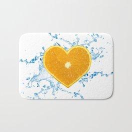 Slice of Heart Shaped Orange Bath Mat