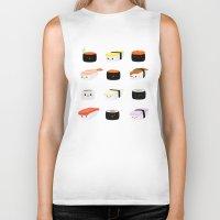 sushi Biker Tanks featuring Sushi! by Sara Showalter