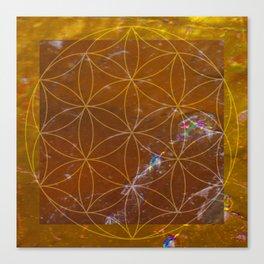 Orange Calcite // Flower of Life Canvas Print