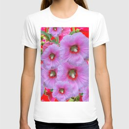 LILAC HOLLYHOCKS WITH RED COLOR ACCENTS T-shirt