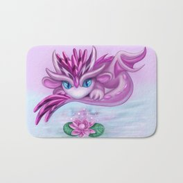 Cristall dragon baby with lotus Bath Mat