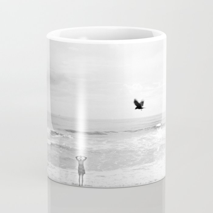 """Lonely Beach Bird"" in Black and White - Holga Photograph Coffee Mug"