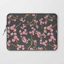 Girly pink mauve gray cherry blossom floral Laptop Sleeve