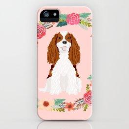 Cavalier king charles spaniel blenheim white dog floral wreath dog gifts pet portraits iPhone Case
