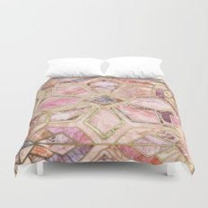 Geometric Gilded Stone Tiles in Blush Pink, Peach and Coral Duvet Cover