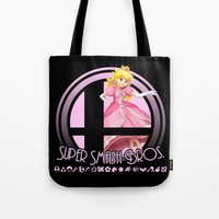 smash bros Tote Bags featuring Peach - Super Smash Bros. by Donkey Inferno