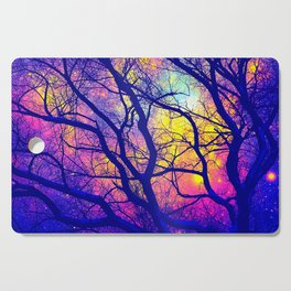 Black Trees Deep Bright & Colorful Space Cutting Board