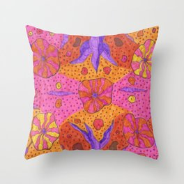 Bohemian Summer Vibes Abstract Throw Pillow