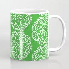 Green white lace floral Mug