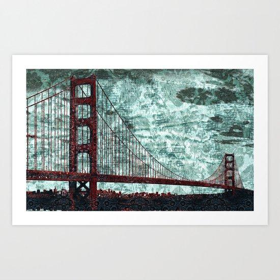 Red Bridge, Blue Bay Art Print
