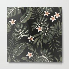 Tropical vintage plumeria flower, strelitzia, palm leaves, monstera leaves Hawaiian floral seamless pattern black background. Exotic jungle night wallpaper. Metal Print