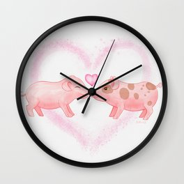 Cute and Sweet Little Piglets in Love, Watercolor Hand-painted Print, I Love You Gift With Animals Wall Clock