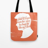 liam payne Tote Bags featuring Liam Payne Silhouette   by Holly Ent