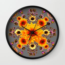 Yellow Sunflowers Floral Pattern Grey Art Wall Clock