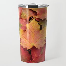 Yellow, green and red maple leaves Travel Mug