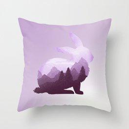 Rabbit Bunny Hare Double Exposure Surreal Wildlife Animal Throw Pillow