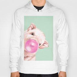 Bubble Gum Sneaky Baby Pig in Green Hoody