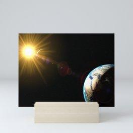 sun, earth and the moon Mini Art Print