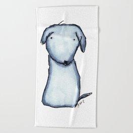Puppy Blue Beach Towel