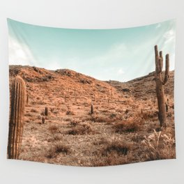 Saguaro Mountain // Vintage Desert Landscape Cactus Photography Teal Blue Sky Southwestern Style Wall Tapestry