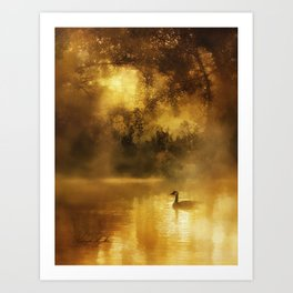 Bird in the misty Georgia M Baker Art Print