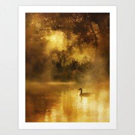 Bird in the misty Georgia M Baker Art Print