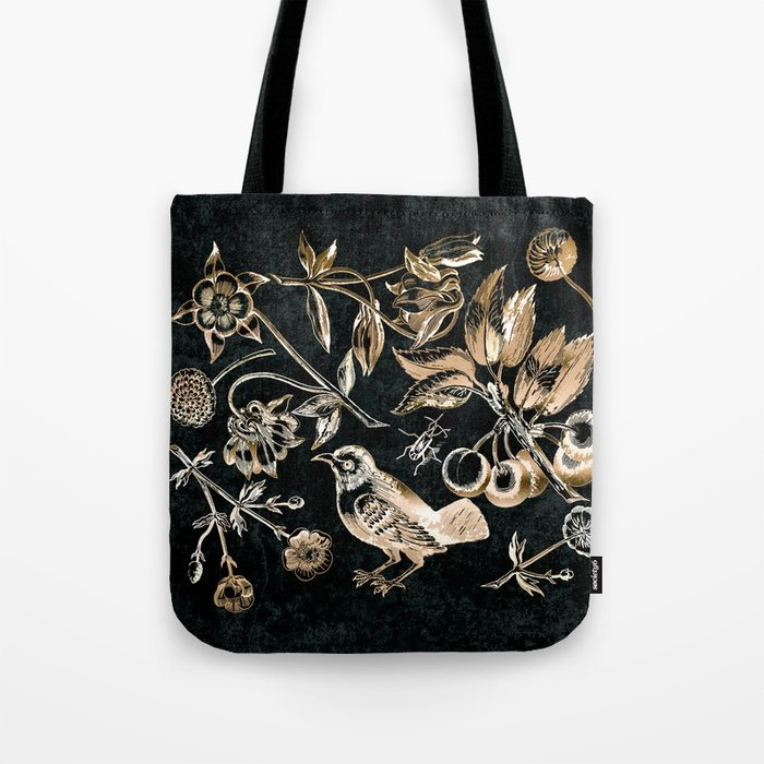 Golden set of birds, beetle, flowers and cherry fruit. Tote Bag