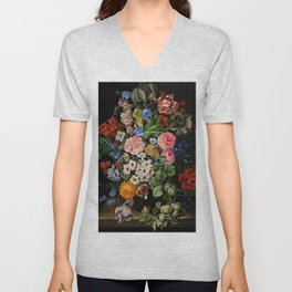 Parrot Tulips, Roses, Dahlias, Zinnia & Fig Bouquet  (Flowers of the Imagination) by Rachel Ruysch Unisex V-Neck