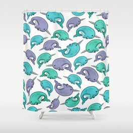 Narwhal Print, Blue, Green, Purple Narwhals Shower Curtain