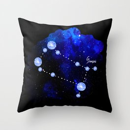 Gemini Constellation in Sapphire - Star Signs and Birth Stones Throw Pillow