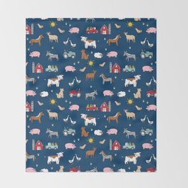 Farm animals nature sanctuary cow pig goats chickens kids gender neutral Throw Blanket