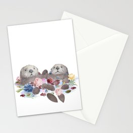Sea Otters Holding Hands, Love Art Stationery Cards