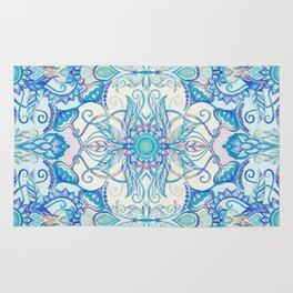 Teal Blue, Pearl & Pink Floral Pattern Rug