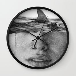Surfer's Fear Portrait - Shark in my Head - Digital Collage Artwork  Wall Clock